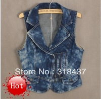 2013 Good quality Spring and summer women's zipper denim vest , fashion suit collar   jeans  vest,WF1403
