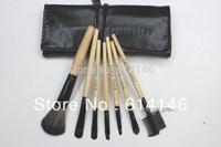 7pcs Makeup Brush Black Set Kit With Roll Up Case Eyeshadow Cosmetic Bag Brush