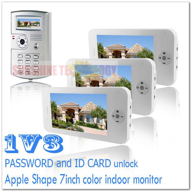 PASSWORD and ID CARD unlock color video door phones/video intercom systems/door bells Drop shipping (3 monitors add 1 camera)(China (Mainland))