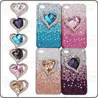 5 Colors Bling Bling Big Rhinestone Heart Phone Case Flatback Cabochons Deco Kit for iphone 4, 5