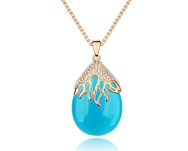 Free Shipping Min. Order $ 10 Blue Opal Clear Crystal Forest Dance Pendant Necklace Long Sweater Chain Gold Plated Girl Jewelry(China (Mainland))