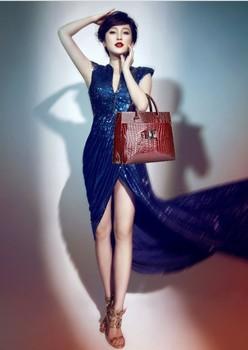 New Fashion Luxury OL Lady Woman Crocodile Pattern Handbag Tote Hand Bag Horizontal Version shoulder bag for women Red Wholesale