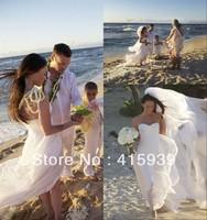 Megan Fox!Beautiful simple sweetheart sleeveless wedding dress with long train HS048