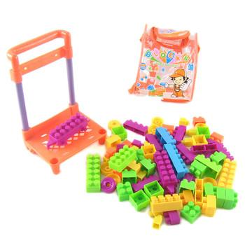 Child stroller plastic building blocks shopping cart books backpack building blocks educational toys