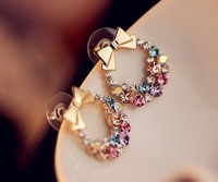100pcs/lot Wholesale Fashion Girl Colorful rhinestone bow earrings 2013 women Promotion Bijouterie Gift Free shipping