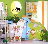 green skyblue cartoon animal cotton kids children's bedding bedsheet twin full queen king quilt duvet covers bed cover set 4pc