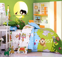 green skyblue cartoon animal cotton kids children's bedding bedsheet twin full queen king quilt duvet covers bed cover set 4pc