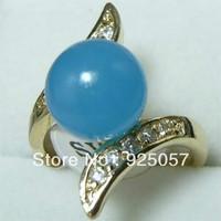 Fancy Jewelry Blue jade women'S Rings Size:7 8 9