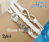 12PCS/Lot!Free ship! White Rope Owl Bracelet and Wristband for Nice Imitation Jewelry B00-942