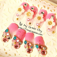 High Quality Beautiful Bride 3D diamond Japanese style pink False Nail/Nail tips/Nail Art,Free Shipping