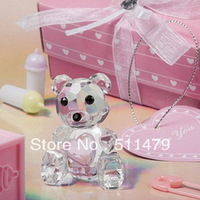 FREE SHIPPING+Choice Crystal Collection Teddy Bear Figurines - Girl Baby Shower Gift+100pcs/lot