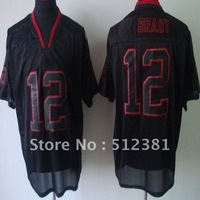 (can mix team,player) Free shipping #12 Tom Brady 2012 new MEN'S Lights Out Black ELITE JERSEYS