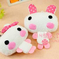 Special sweet 13cm cartoon shy rabbit bag mobile phone pendant chain plush accessories toy activity award gift wholesale 10 pcs