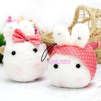 Special sweet 7cm cartoon rice rabbit bag mobile phone pendant chain plush accessories toy activity award gift wholesale 10 pcs
