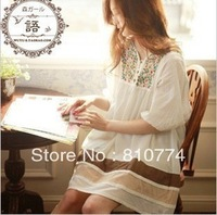 BIG DISCOUNT beautiful high quality women's hemp cotton national embroidery trend skirt plus size half sleeve one-piece dress