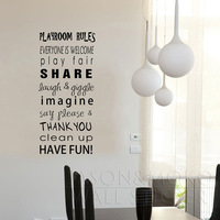 new products for 2013  Playroom Rules yet  stickers child  mural wallpaper  42*91CM  Free shipping