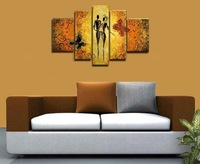 hand-painted wall art Butterfly lovers flowers home decoration abstract Landscape oil painting on canvas 5pcs