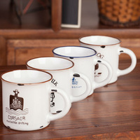 Ceramic coffee cup Enamel Style milk mug zakka four design options free shipping