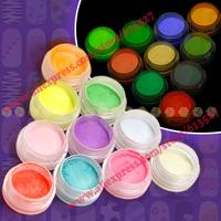Free Shipping acrylic nail art Luminous neon powder kit 10pcs/lot