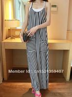 | Name / Trade name: fashion strap double pocket striped dress / dress