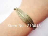 FREE SHIPPING  Wholesale 20pcs bracelet---antique bronze feather pendant&alloy chain