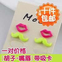 0003 earring neon color candy color asymmetrical stud earring earrings