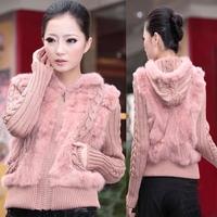 Real Knitting Rabbit Fur Jacket with Zip Hood Autumn Spring Style Women Free Shipping Plus Size Coat
