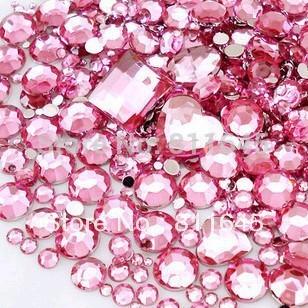 Mix Size Pink Round Acrylic Loose Non Hotfix Flatback Rhinestones Gems Glitter Nails Art Crystal Stone Without Glue Decorations