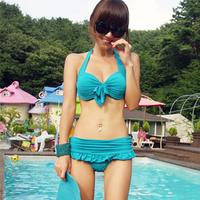 2013 Belt bikini skirted bikini small push up sexy halter-neck women's swimwear bathing suit swimsuit  Free of mail