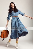 New arrival 2013 summer autumn European style maxi denim dress women casual full sleeve ank-length dressFree shipping wholesale