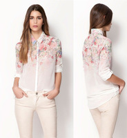 2013 New Fashion Floral Print Chiffon Blouse Shirt,Casual Elegant Graceful Business Blouses Brand Designer Tops 3061801