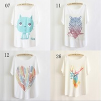 [Magic] newest style thin plus size loose batwing sleeve women's short sleeve t-shirt print tees womens t shirt 29 models free