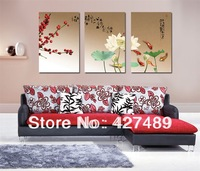 3 Piece Free Shipping Modern Wall Painting Abstract Lotus Flower Home Decorative Art Picture Paint on Canvas Prints A183