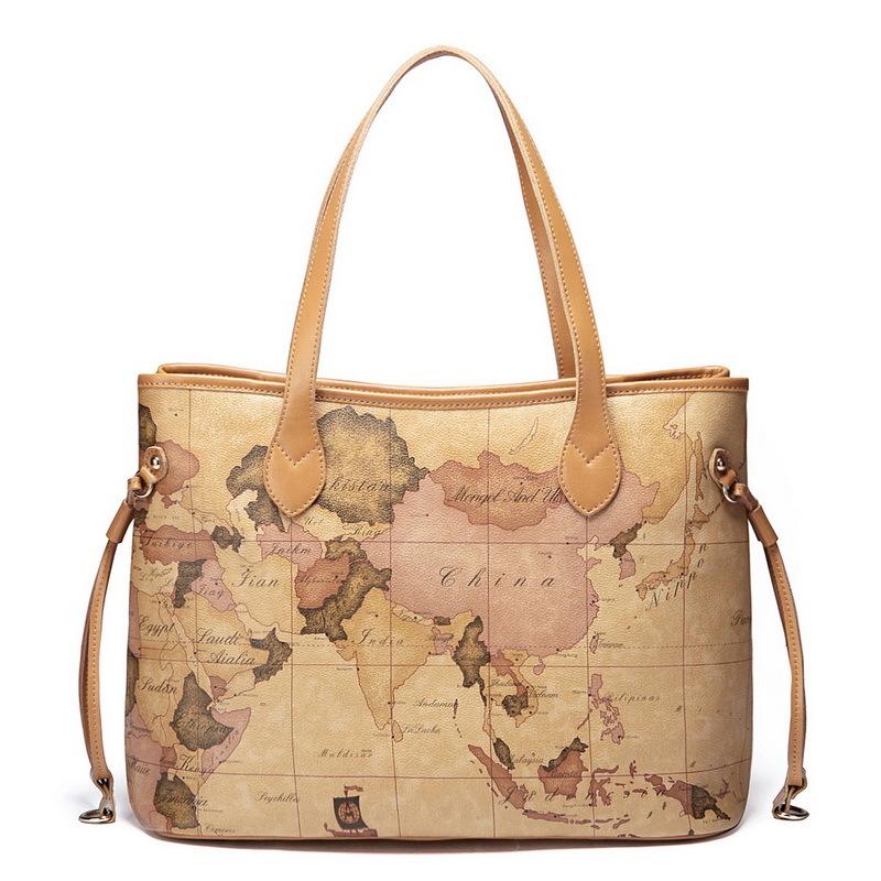 Women's handbag traveler 2013 1170304 series cowhide shoulder bag map one(China (Mainland))