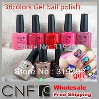 (free gift foil Sticker 4pcs)DHL Free shipping+Sweet Color 40pcs CNF soak off UV & LED nail gel polish(36 colors+2top+2base)