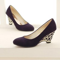 2014 new office lady wedge shoes women's gold high heels free shipping cheap pumps