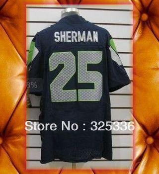 Seattle 25 Richard Sherman Blue White Elite Football Jerseys 2013 New Mix order