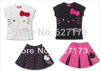 2013 New, retails ,Free Shipping,Hello kitty short sleeve clothes +short dress,1set/lot