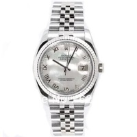 New Style Heavy Band Stainless Steel Datejust Model 116234 Jubilee Band 18K White Gold Fluted Bezel Mother Of Pearl Roman Dial