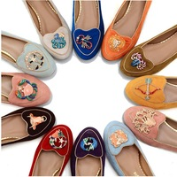 2013 new style Hot selling ladies Charlotte Olympia Twelve constellations suede slippers canvas women co flats sandal shoes