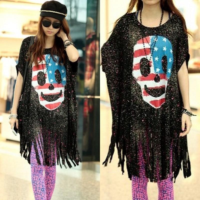 Designer clothes personalized women's skull tassel short-sleeve T-shirt ultra long batwing shirt(China (Mainland))