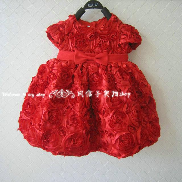 2013 summer baby child female baby child the big red rose princess dress(China (Mainland))