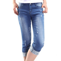 free shipping 2013 spring tight jeans skinny pants pencil pants female roll-up lace hem long trousers