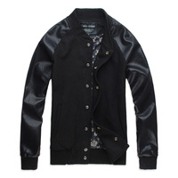 Ab05 2012 autumn new arrival male baseball clothing patchwork paragraph in the motorcycle jacket black