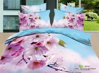 New!4pcs 3d bedding sets 100% cotton.Pink flower high quality Printed bed clothes the bed linen queen size duvet cover5028