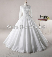 New Arrival Organza Applique Ball Gown Long Sleeves Muslim Wedding Dresses Free Shipping