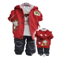 children suit kids fashion suit baby sets,autumn 3pcs set Outerwear+T-shirt+Pants for boys,3size*2colors in stock free shipping