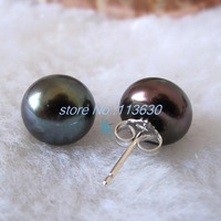 6mm Black Freshwater Pearl Stud Earrings Silver Post