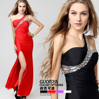 Guoisya one shoulder placketing one-piece dress sexy elegant party dress cars evening dress