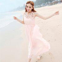 2013 women's cloth elegant flower ultra long skirt chiffon sleeveless one-piece dress beach dress apricot pink